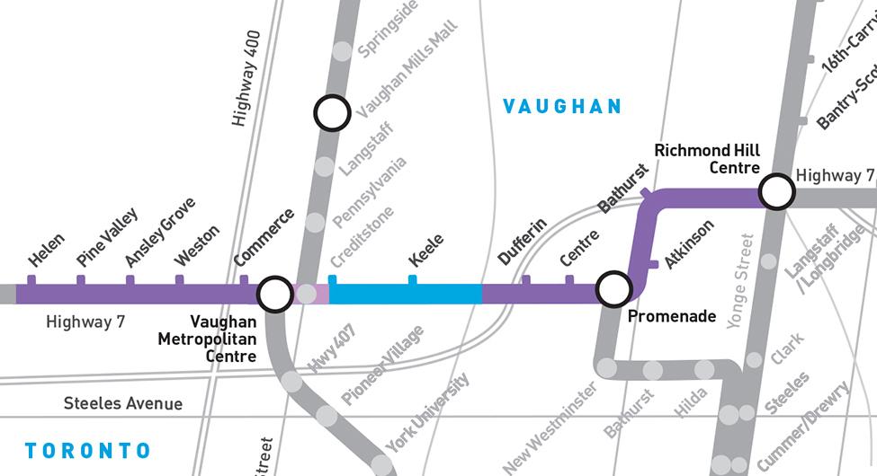 Vaughan rapidway map